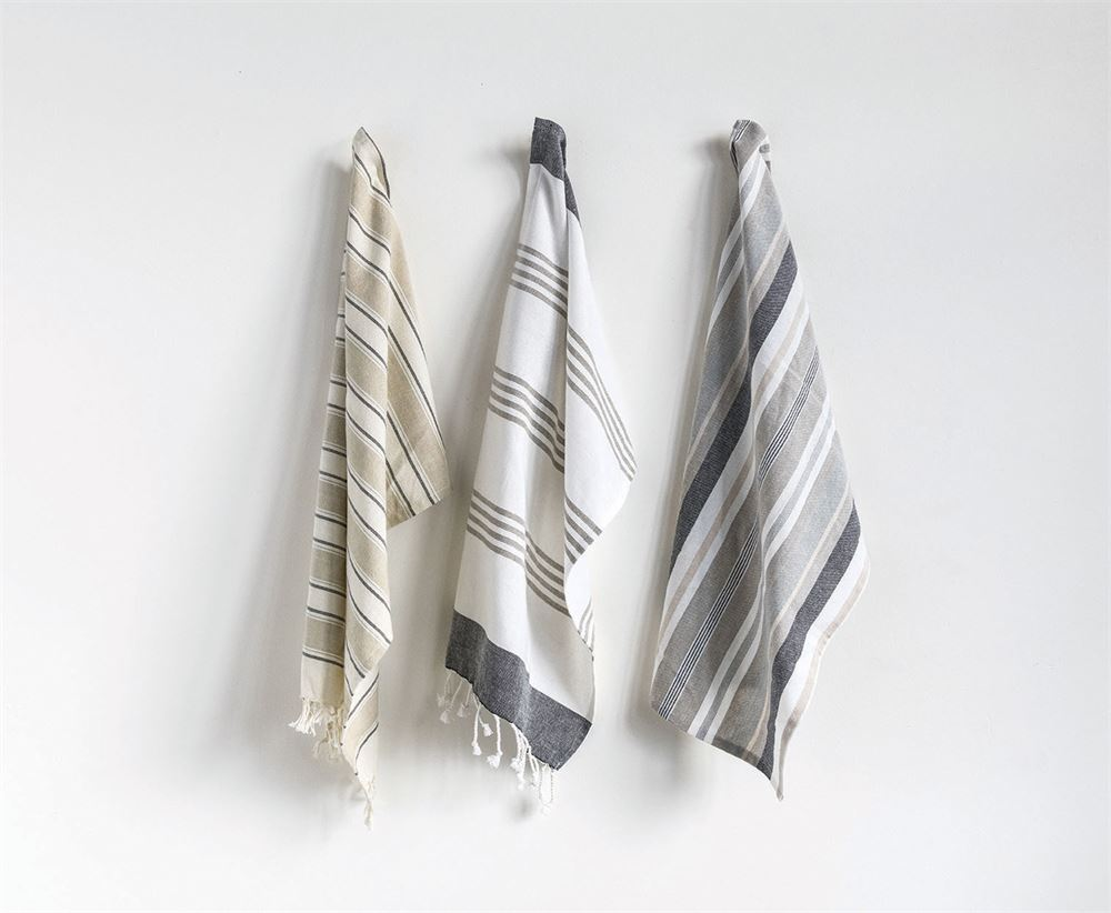 """JoJo"" Striped Cotton Tea Towels (Set of 3)"
