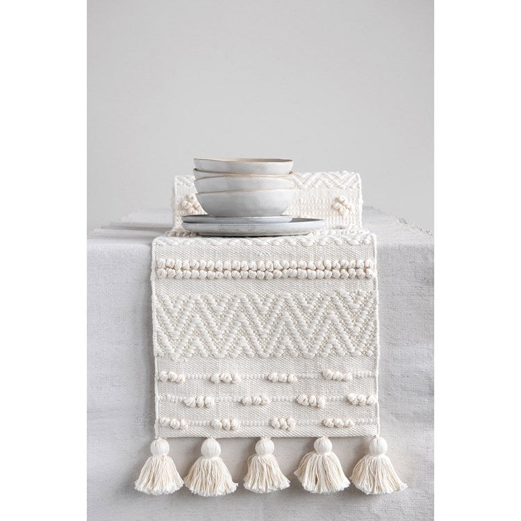"Cream Textured Table Runner, 72"" L"