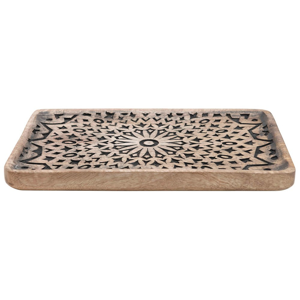 Large Hand-Carved Mango Wooden Tray