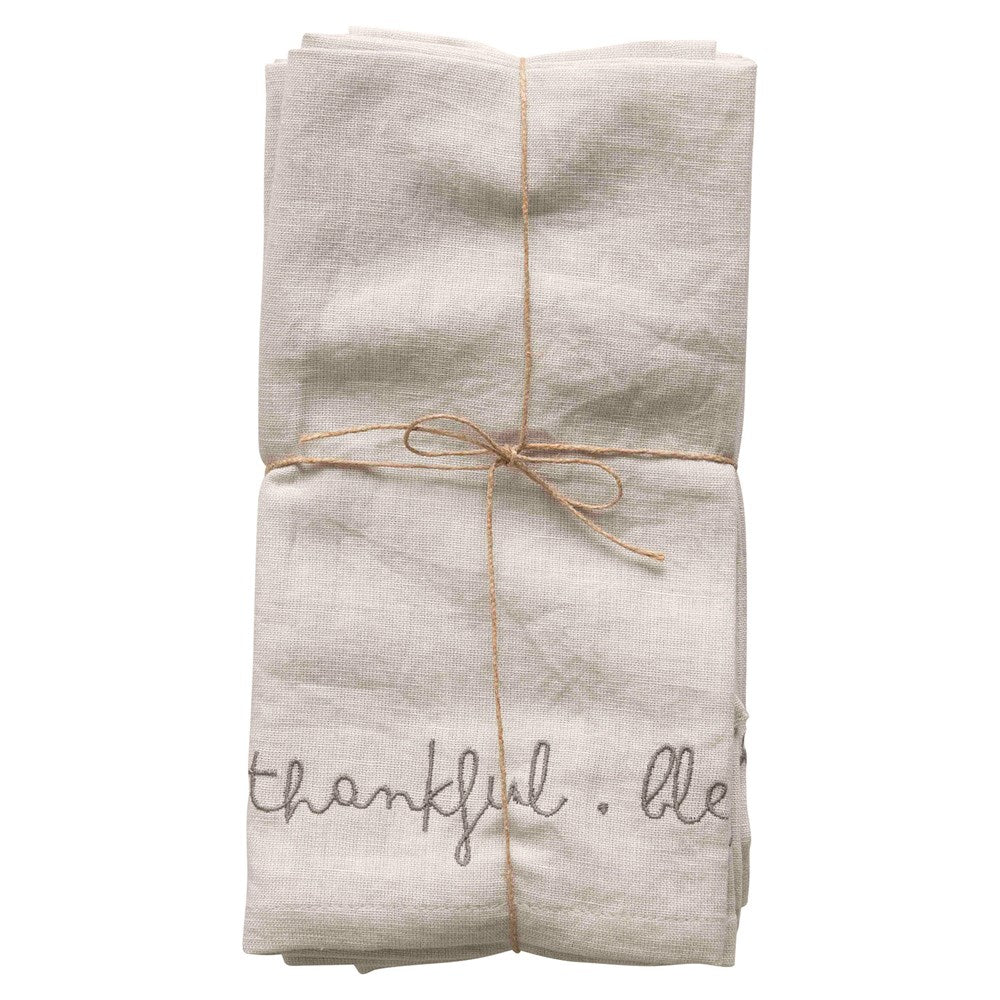 """Grateful. Thankful. Blessed"" Linen Napkin Set"