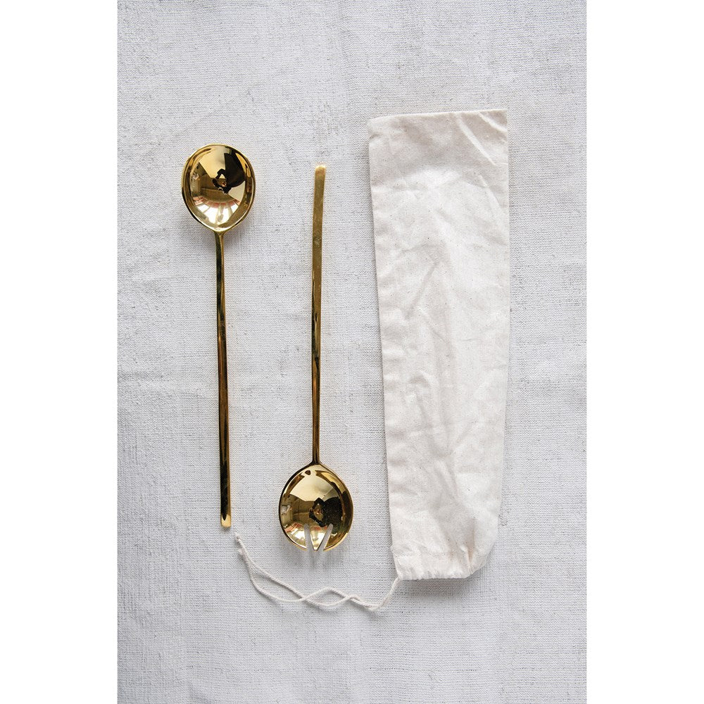 Brass Salad Servers, Set of 2