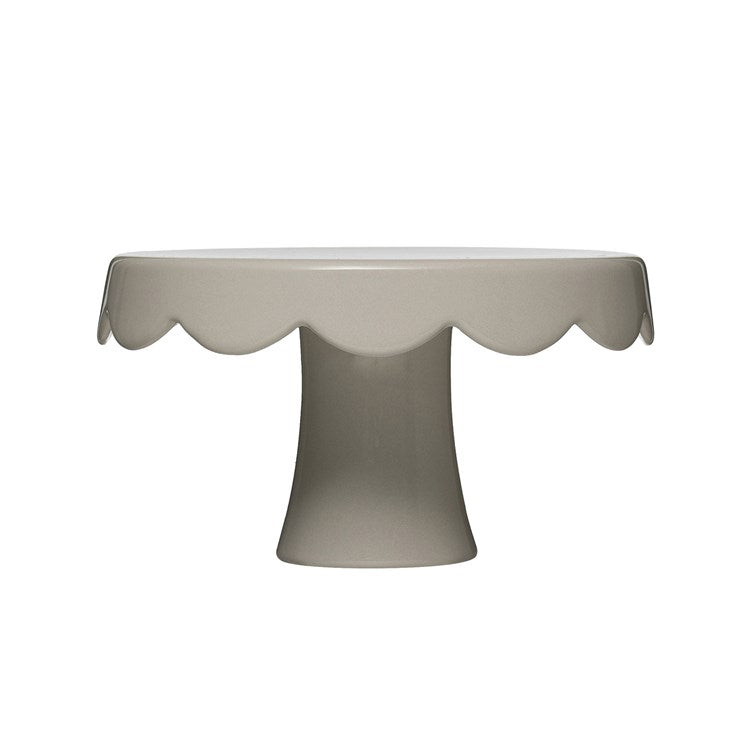 Grey Stoneware Scalloped Cake Pedestal