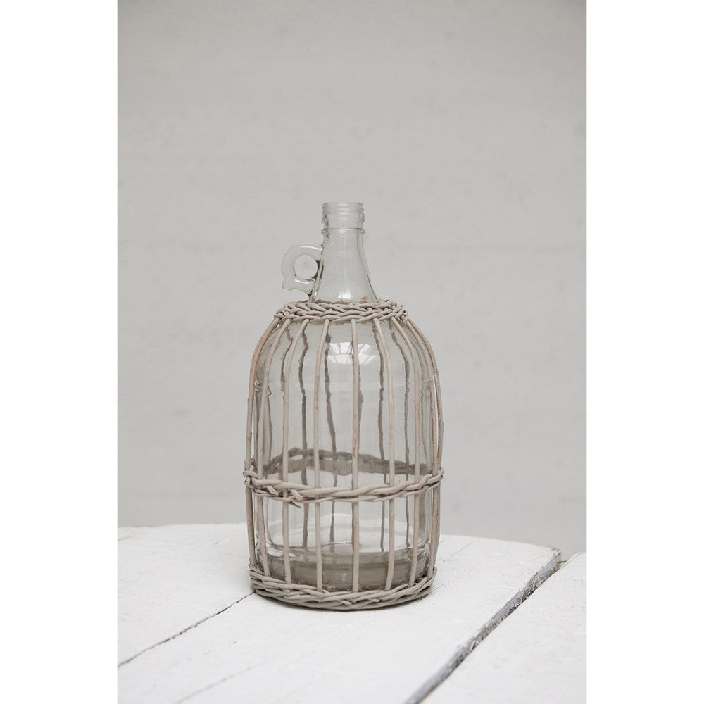 Round Glass Bottle w/ Woven Gray Bamboo Sleeve