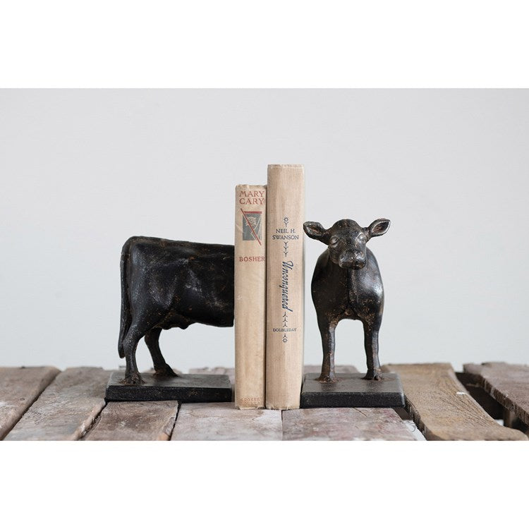 Cast Iron Cow Bookends, Set of 2