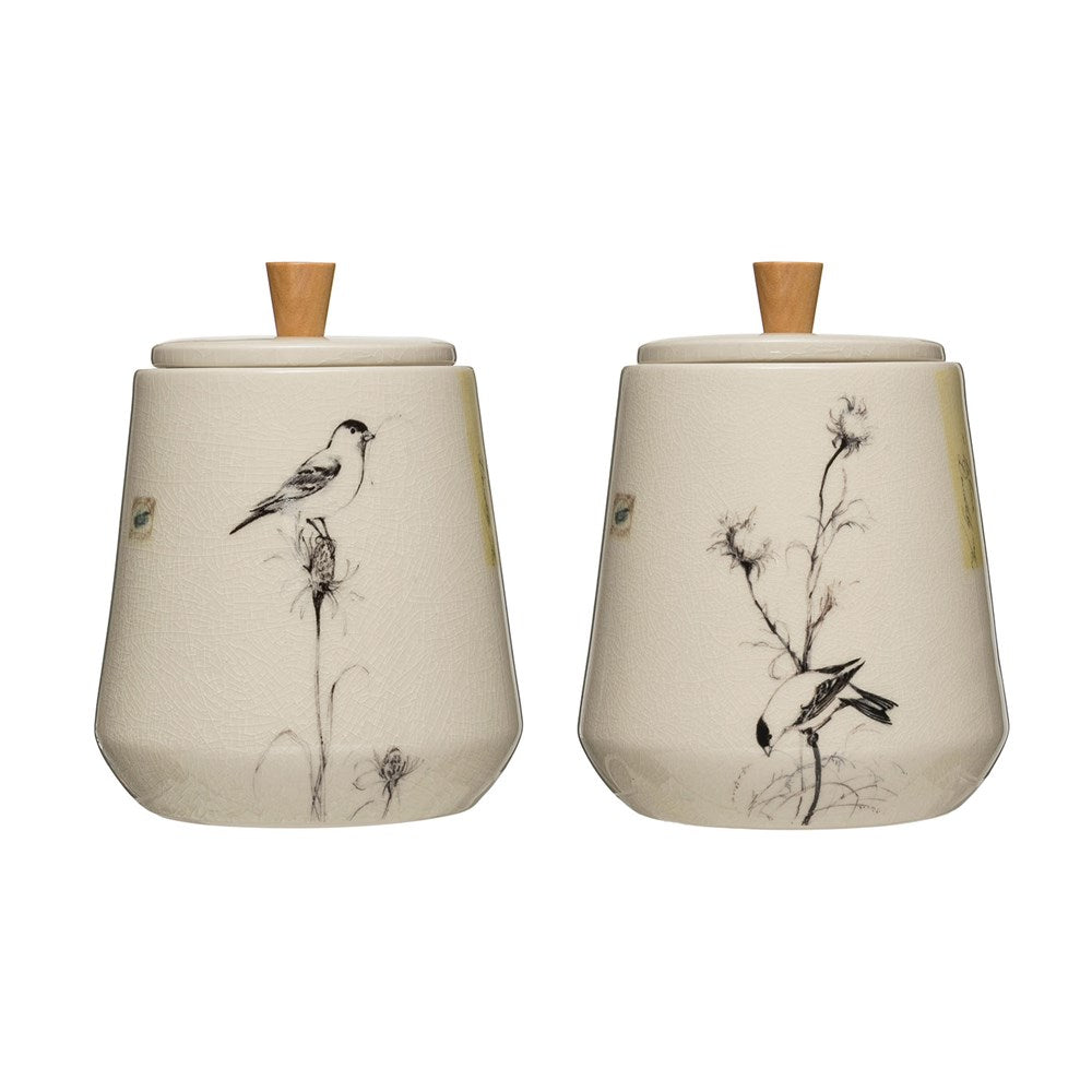 Bird Printed Stoneware Canister