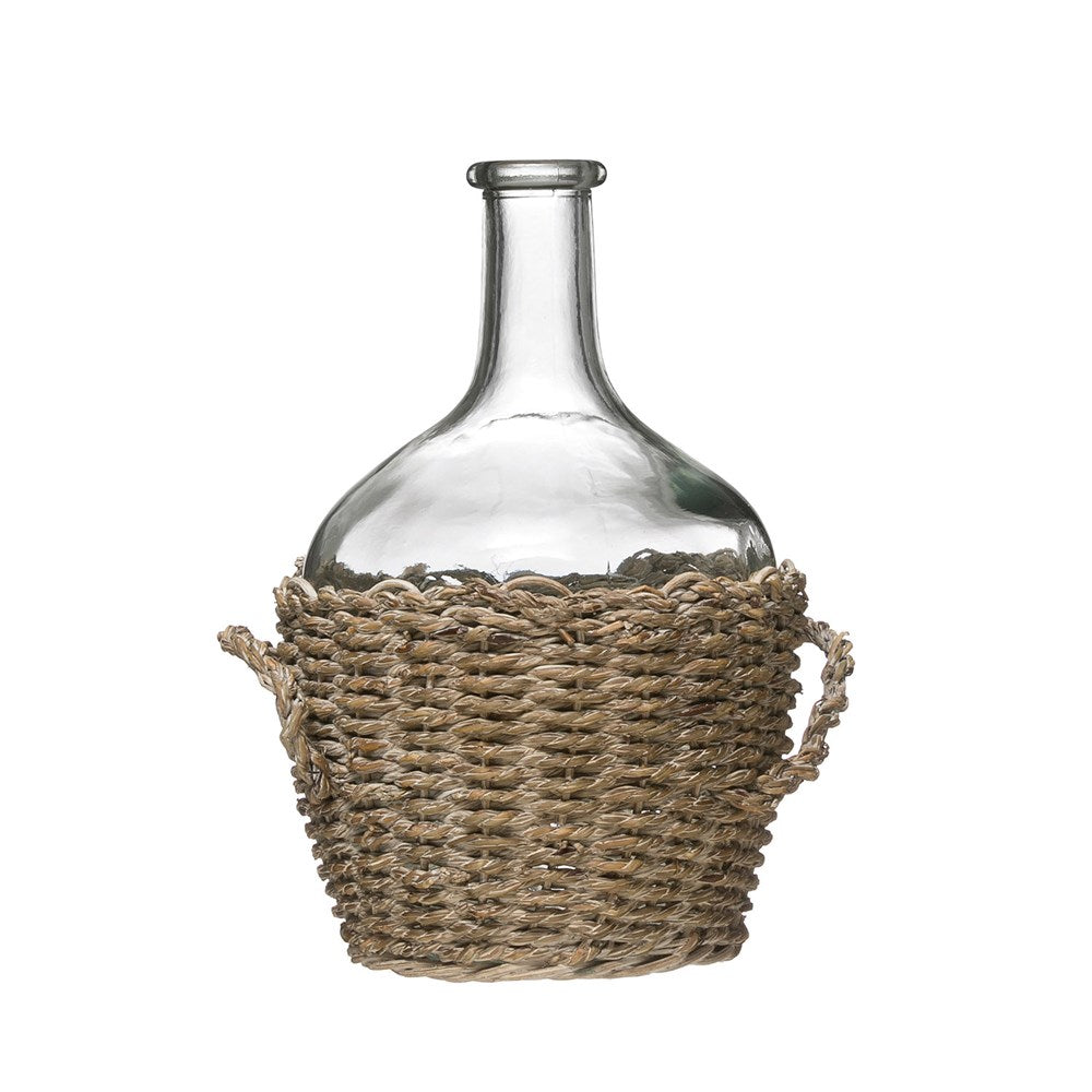 Medium Glass Bottle in Woven Seagrass Basket