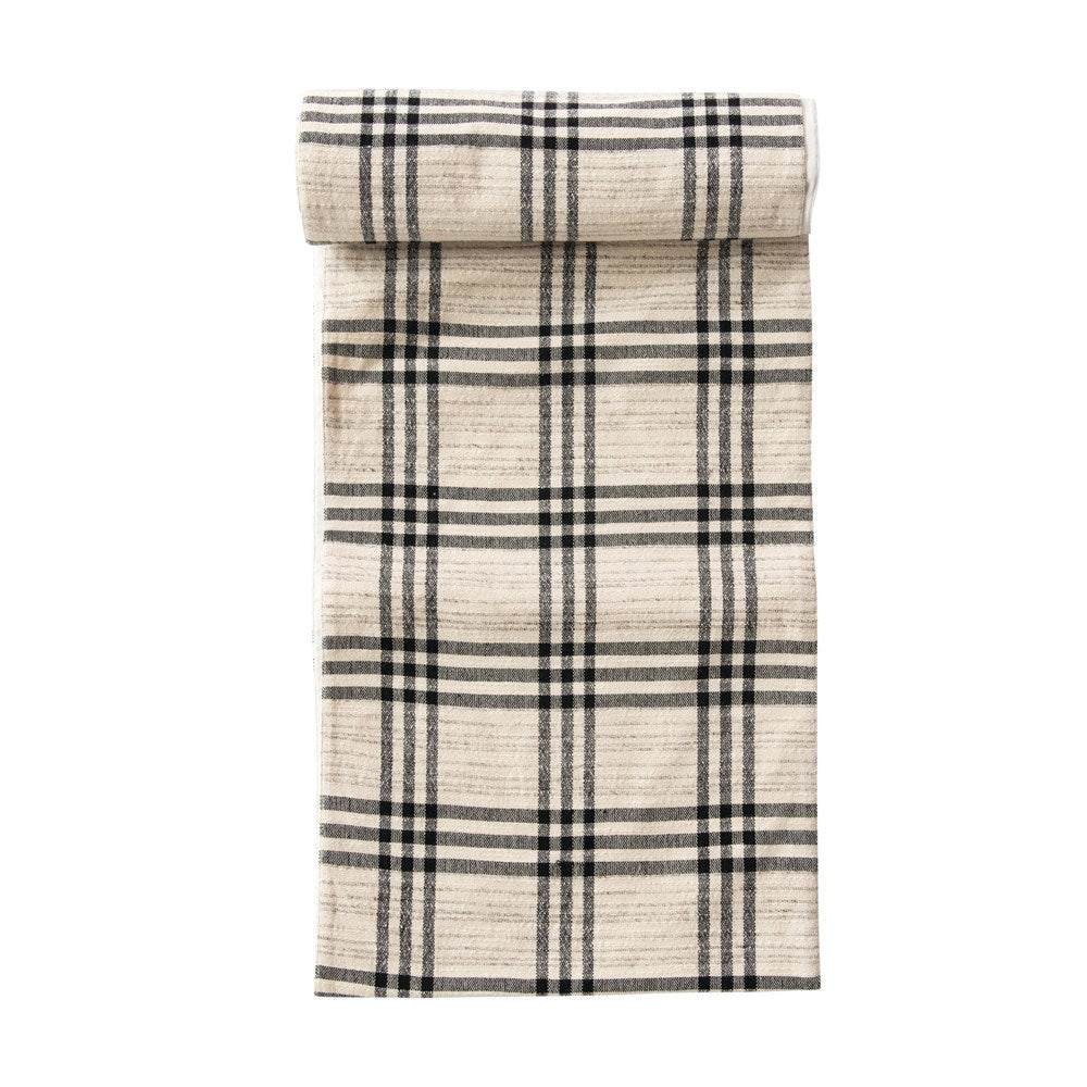 Black/Neutral Plaid Table Runner