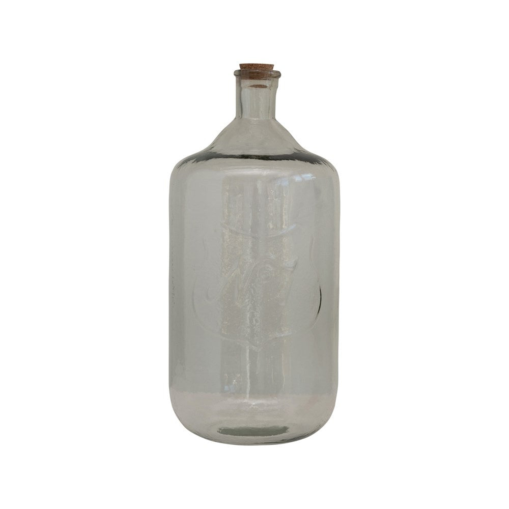 Embossed Recycled Glass Bottle with Cork