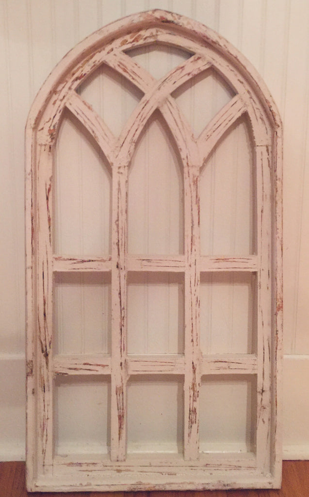 White Wooden Arched Lattice Window