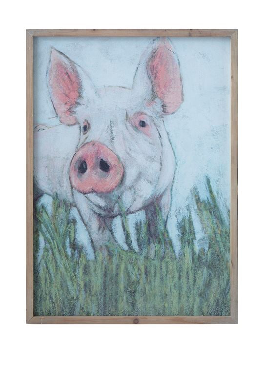 Wooden Framed Pig Print