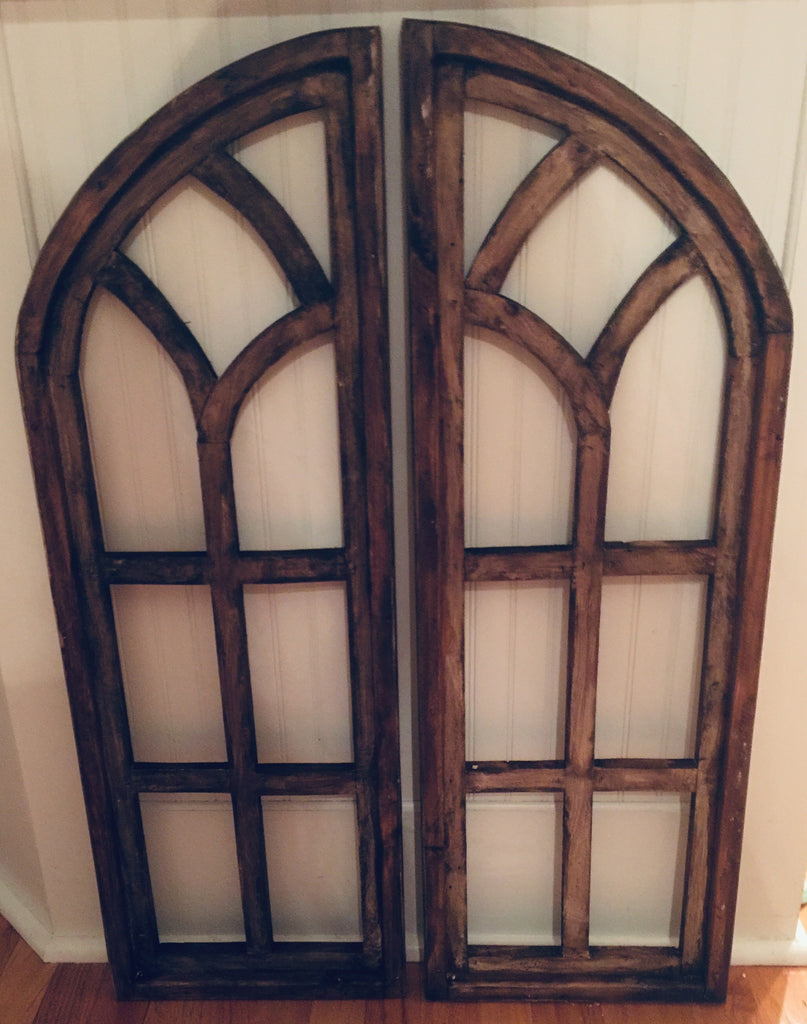 Set of 2 Arched Panel Windows