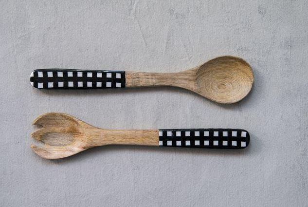 Enameled Mango Wood Salad Servers (Set of 2)