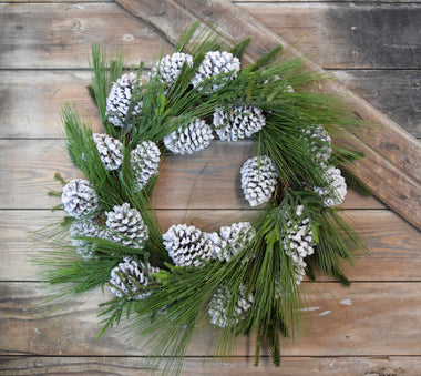 Large Snowy Pine Wreath, 24""