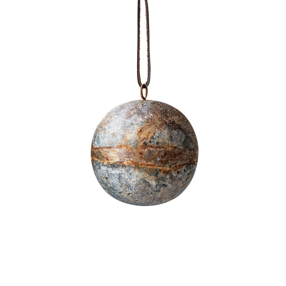 Round Metal Ornament with Antique Zinc Glaze