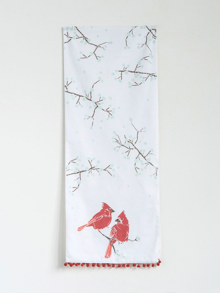 Cotton Table Runner with Cardinals & Pom Pom Trim