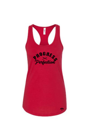 Progress Over Perfection Red Women's Racerback - Military Muscle