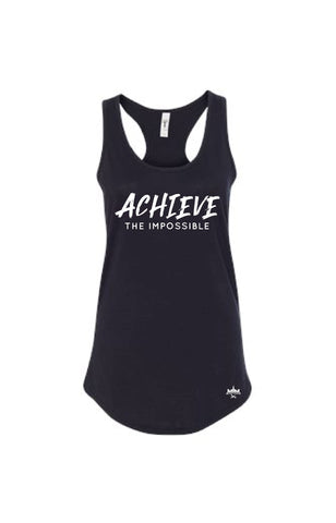 Achieve The Impossible Black Women's Racerback - Military Muscle