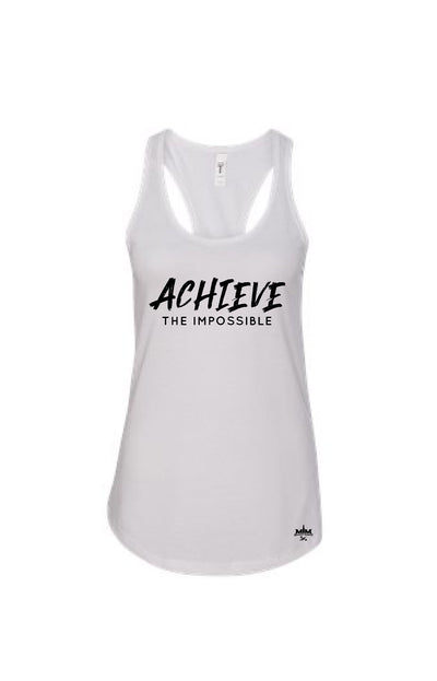 Achieve The Impossible White Women's Racerback - Military Muscle