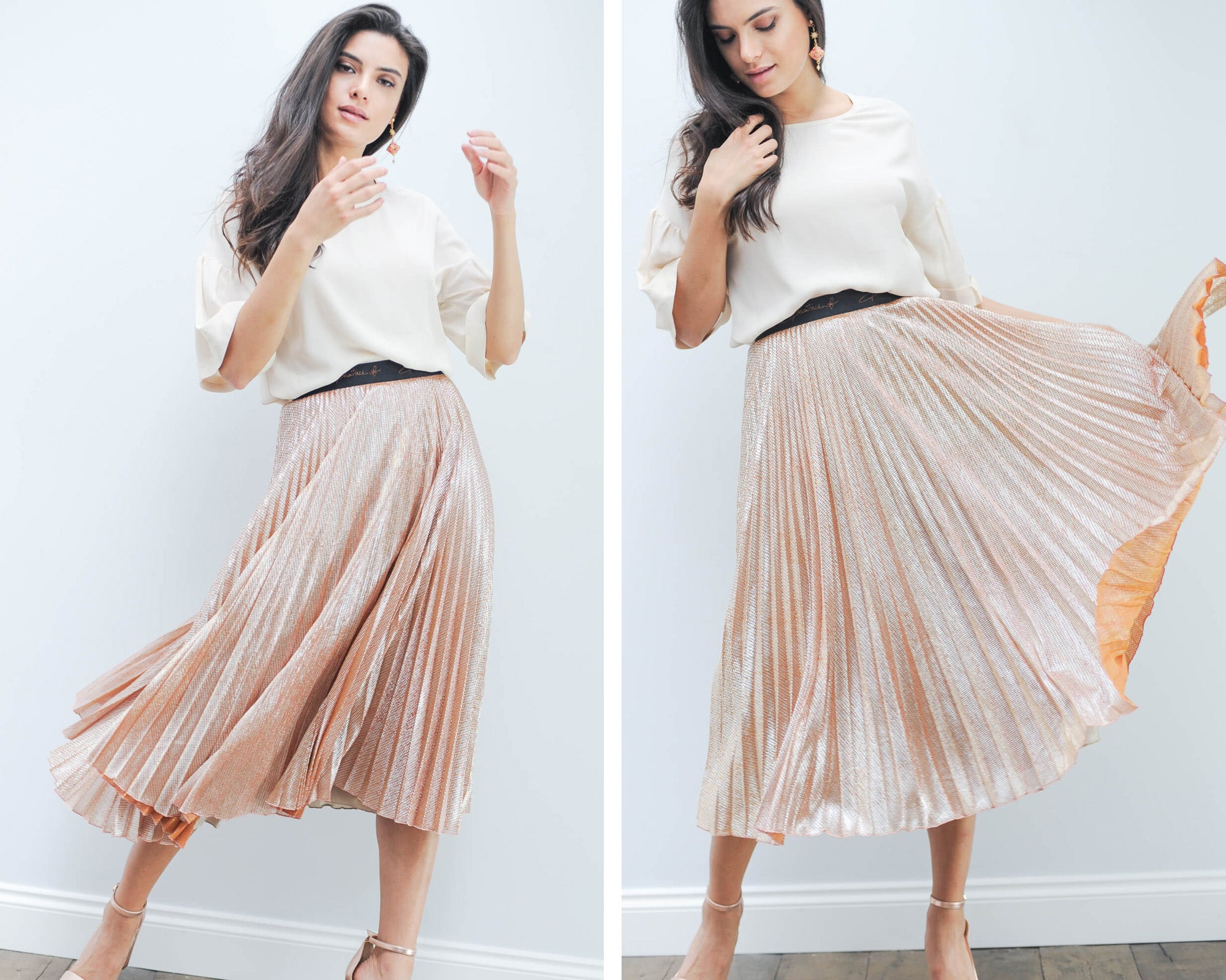 Beatrice B orange skirt and silk tee