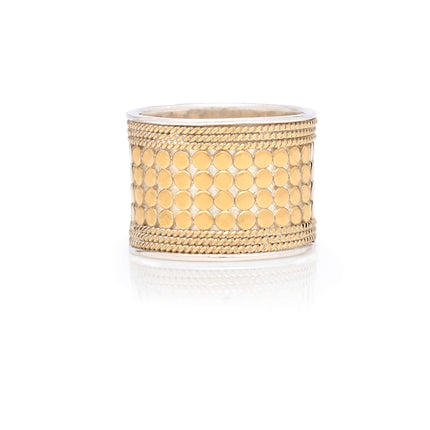AB 0016R gold and silver wide band ring