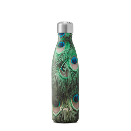S'well water bottle in peacock print