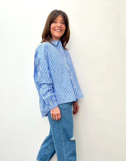 EA Zaboon Cotton Shirt in Halogen Blue