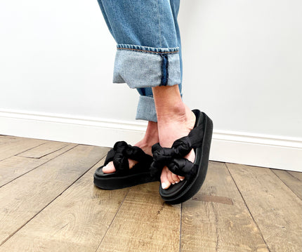 GANNI S1489 Recycled Satin Sandals in Black