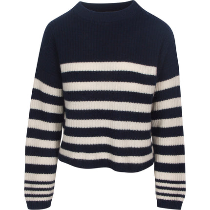 360 Edie Striped Knit in Navy, Chalk