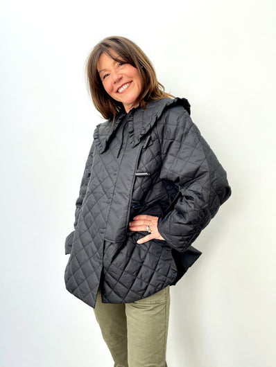 GANNI F5812 Recycled Ripstop Quilt Coat in Black