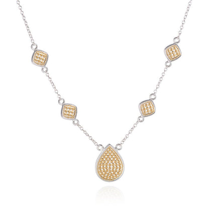 AB 4176N gold and silver tear drop and squares necklace
