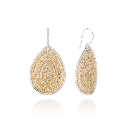 AB 4274N gold large tear drop earrings