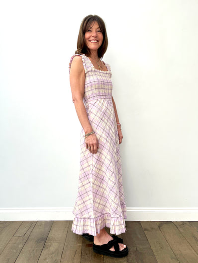 GANNI F5929 Seersucker Check Dress in Orchid Bloom