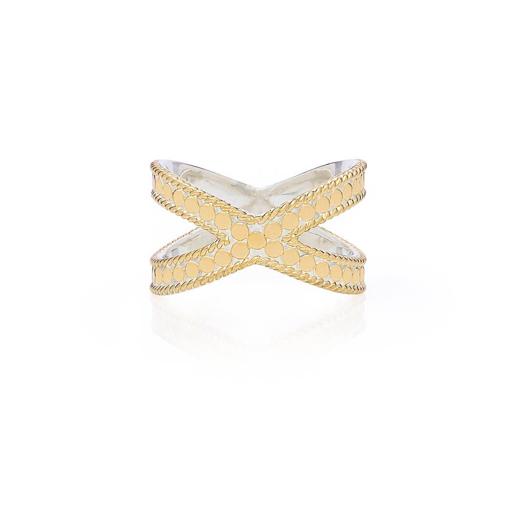 AB6460R gold and silver cross ring