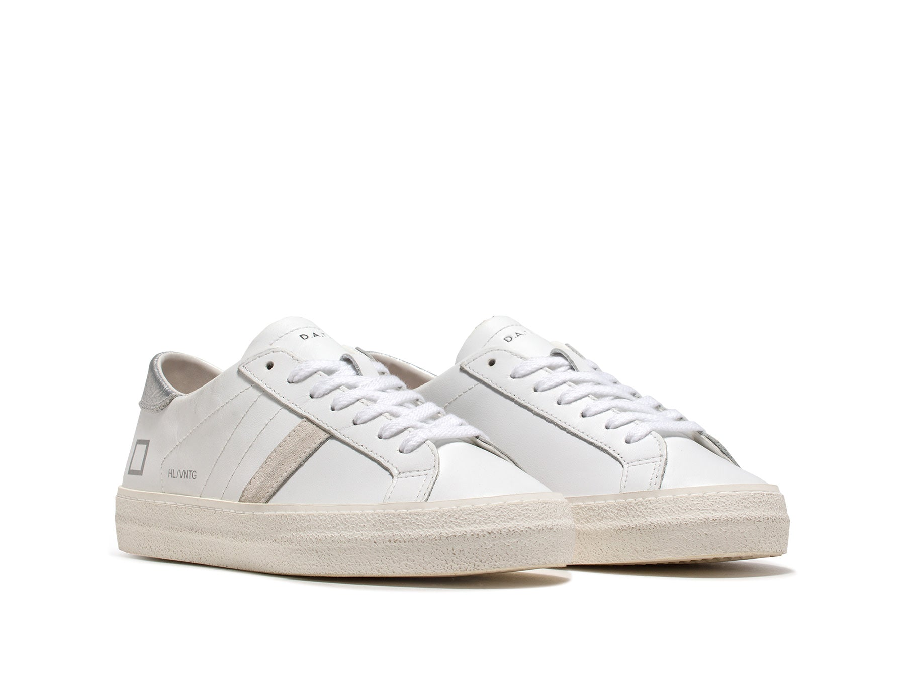 D.A.T.E Hill Low Vintage Calf in White Silver