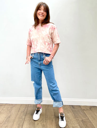 BERENICE Even Tie Dye Tee in Coral