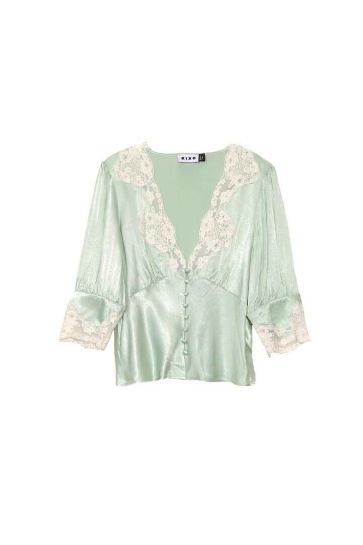 RIXO Amanda top in mint green