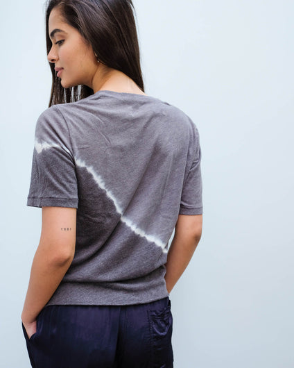 RA 1645 Boxy tie dye V in night grey