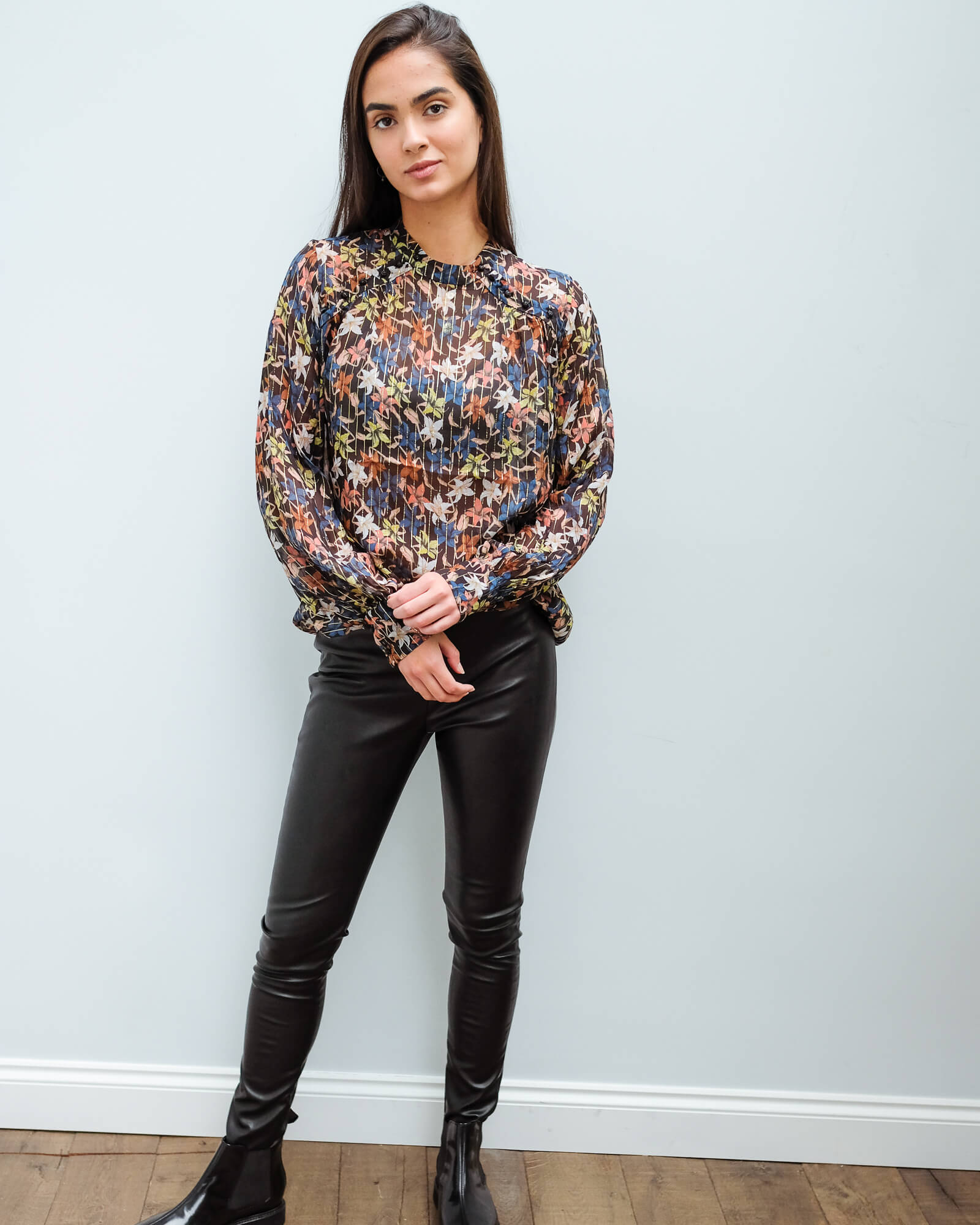 M Kickoff floral blouse in black