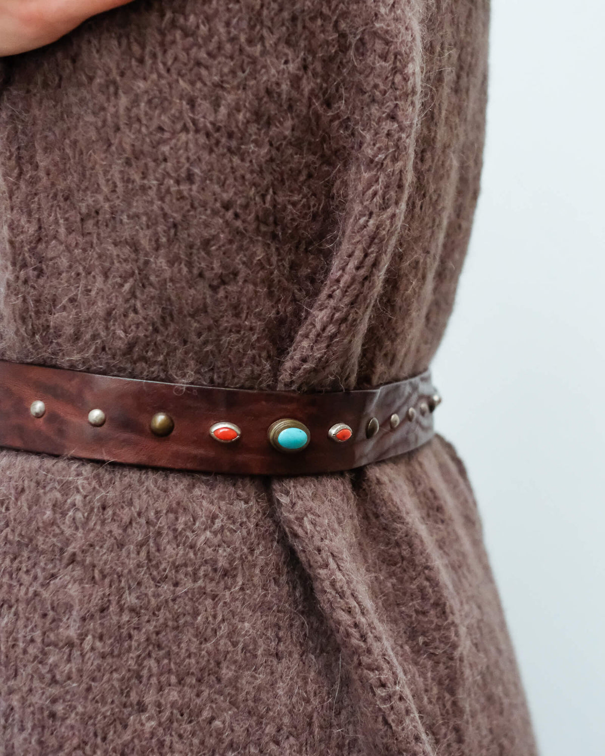 SW Rodeo studded belt in turquoise and red