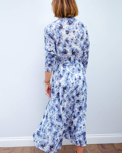 BD 6438 Maxi shirt dress in deep sea navy