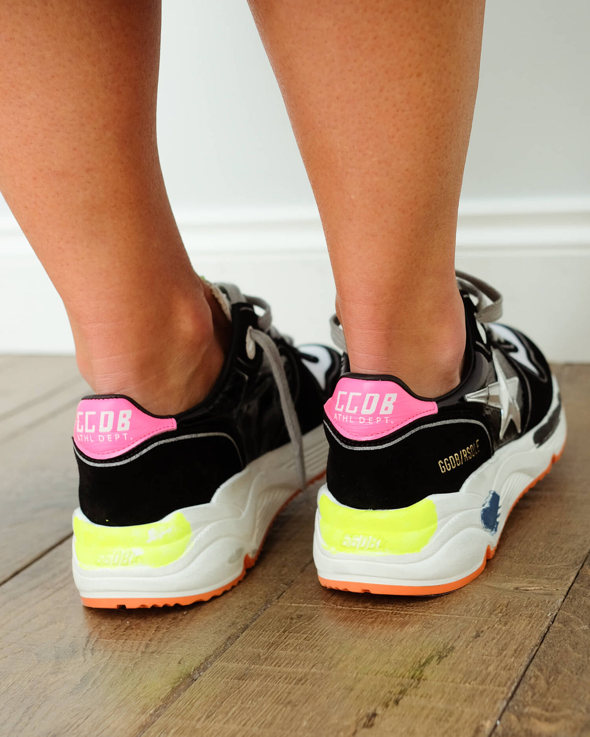 GG Running sole 280 in black, pink and silver star