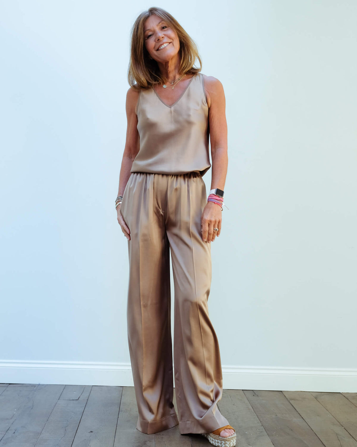 JOSEPH Taffy silk trousers in taupe