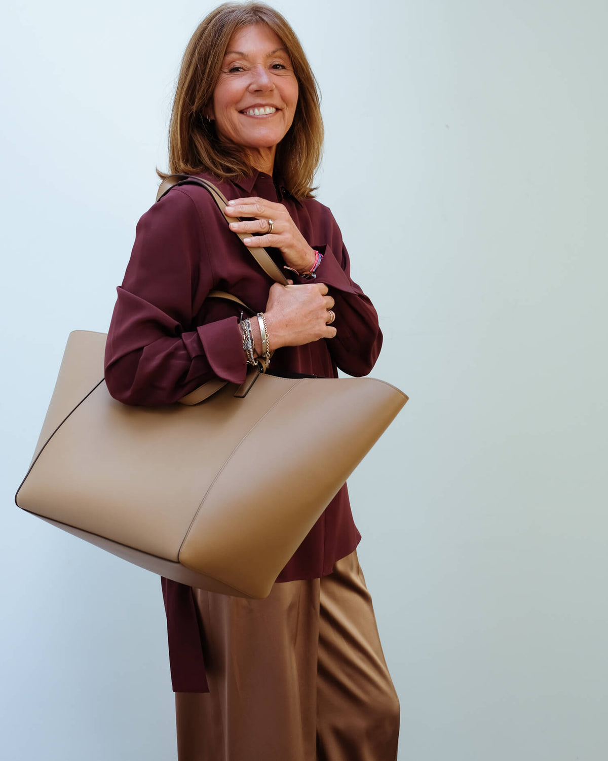 JOSEPH Leather tote in saddle
