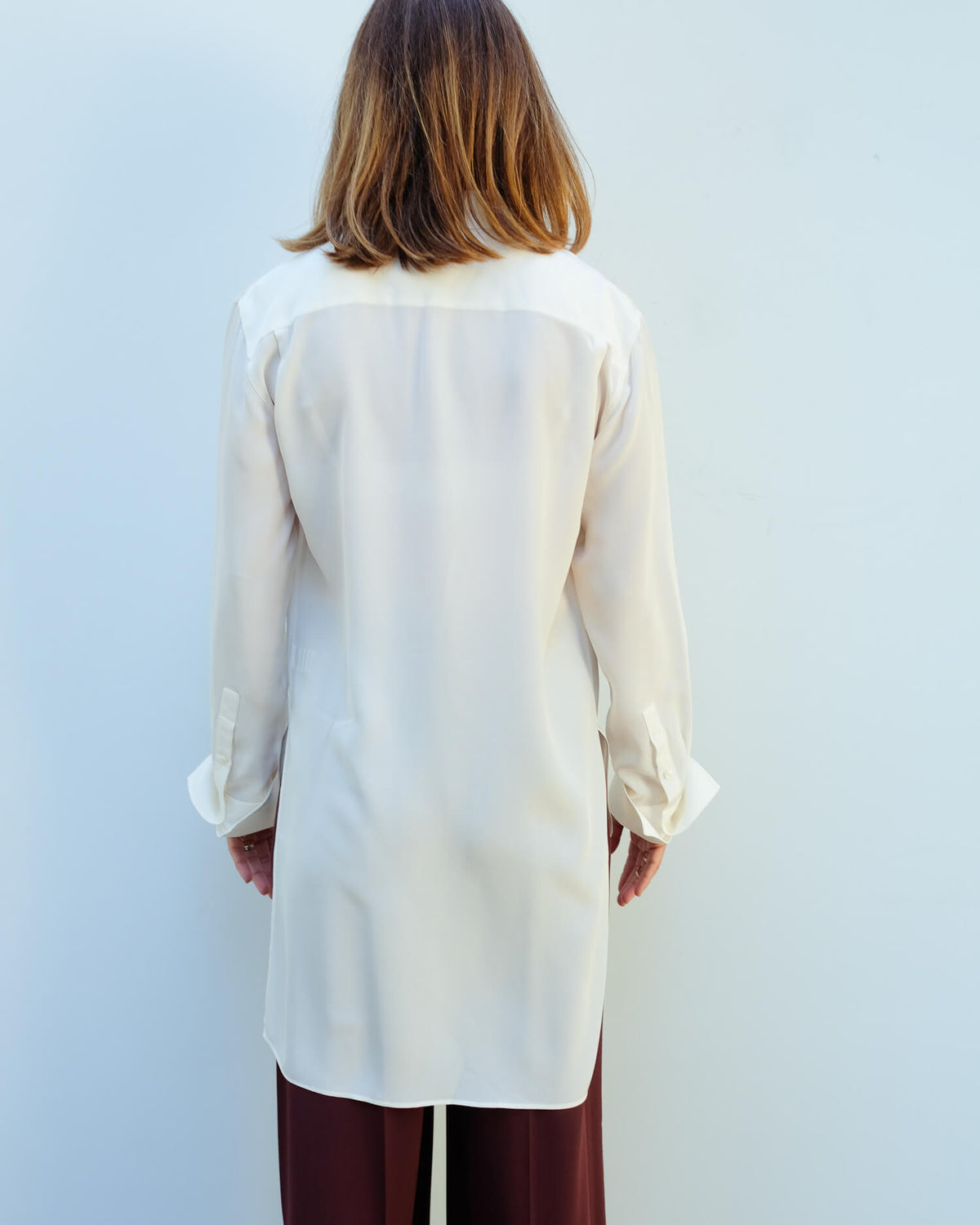 JOSEPH Bold crepe de chine blouse in ivory