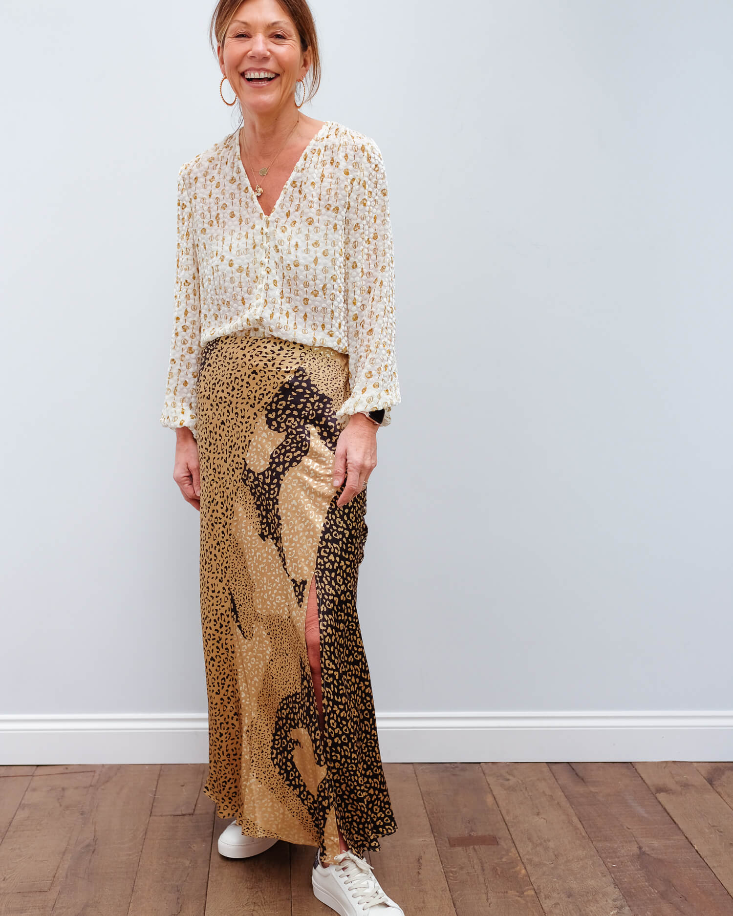 RIXO Parker skirt in gold patchwork leopard
