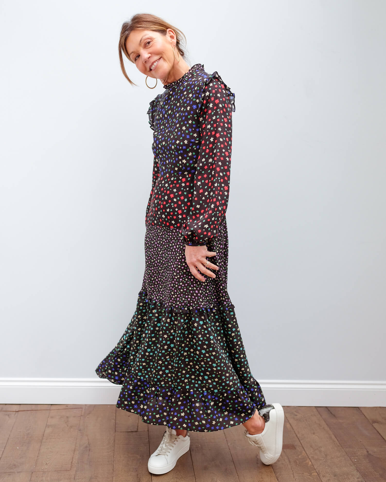 RIXO Billie dress in mixed ditsy floral dress