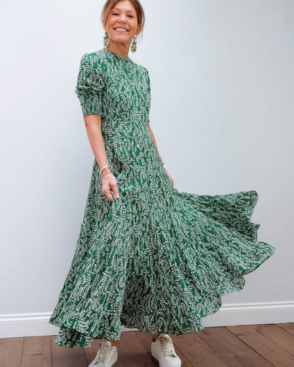 RIXO Kristen dress in tree roots green