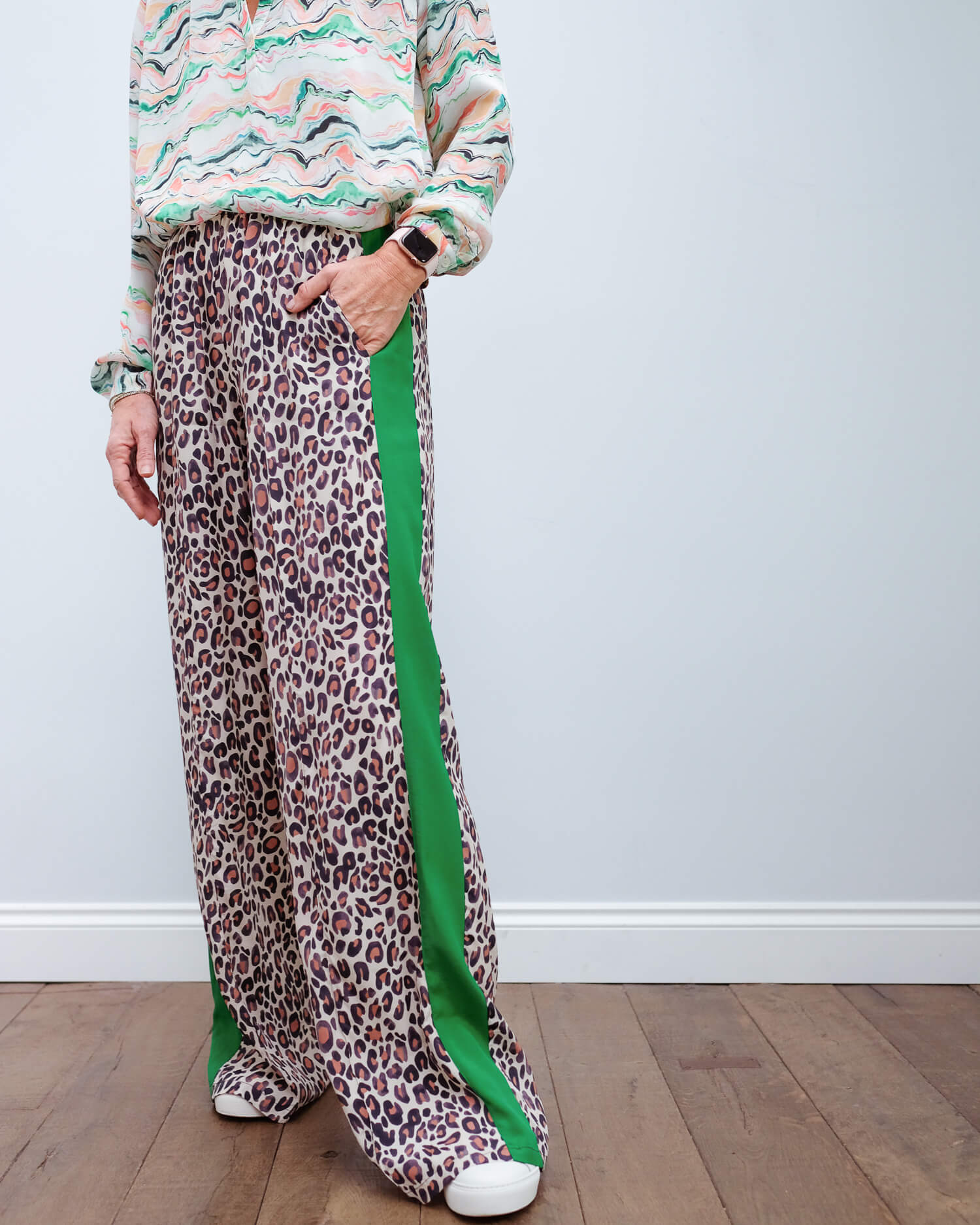 PP Kylie trousers in leopard 04/green stripe