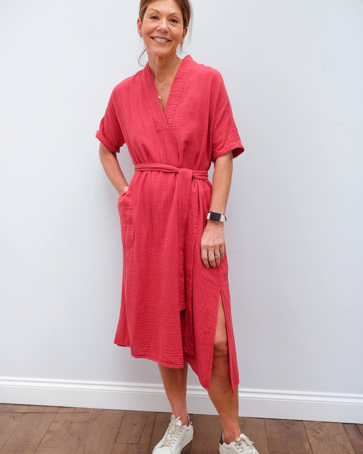 V Kerry dress in crayon
