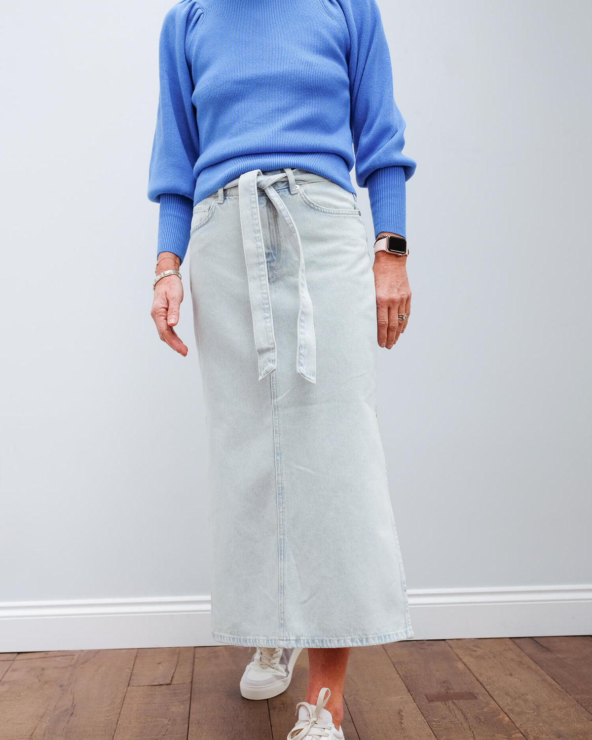 SLF Alma long denim skirt in light blue